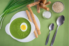 Cream soup. Spinach cream soup with egg Royalty Free Stock Image
