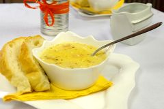 Cream soup on the table Royalty Free Stock Photography
