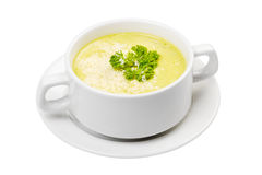 Cream soup in white bowl Stock Images