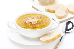 Cream soup of yellow lentils with bread, isolated Royalty Free Stock Photo