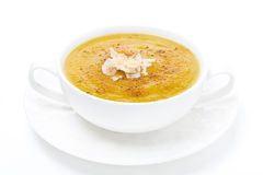 Cream soup of yellow lentils, isolated Stock Photos