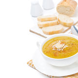 Cream soup of yellow lentils with vegetables, isolated Royalty Free Stock Photo