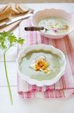 Cream of spinach soup Stock Photos