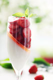 Cream with strawberries Stock Images