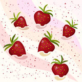 Cream with strawberries. Strawberry mousse with berries, vector illustration Stock Photo