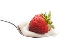Cream and strawberry Royalty Free Stock Photography