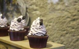 Cream and strawberry cupcake Royalty Free Stock Photo