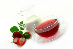 Cream - strawberry - Tea Royalty Free Stock Photo