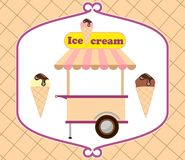 Cream. Street sale of ice cream. Vector stock illustration isolated on white background. Cream. Street sale of ice cream. Vector illustration isolated on white stock illustration