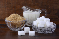 Cream and sugar in crystal glassware. Royalty Free Stock Photos