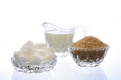 Cream and sugar in crystal glassware. Royalty Free Stock Images