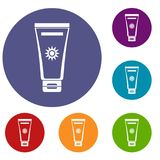 Cream sun protection icons set. In flat circle reb, blue and green color for web Royalty Free Stock Images