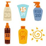 Cream sunscreen bottle isolated on white background vector icon sunblock cosmetic summer container tube packaging design Royalty Free Stock Images