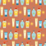 Cream sunscreen bottle sunblock cosmetic summer container tube packaging design seamless pattern background vector Royalty Free Stock Images