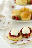 Cream tea scene, vertical Royalty Free Stock Photo