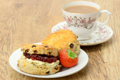 Cream tea scones and a cup of tea Stock Images