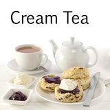 Cream Tea. Scones with jam and cream, served with a cup of tea, and the words . This image can be customised to include the name of your own cafe, restaurant Stock Image