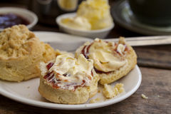 Cream tea. Traditional cream tea with scone, clotted cream and jam Stock Photos