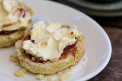 Cream tea. Traditional cream tea with scone, clotted cream and jam Stock Photo