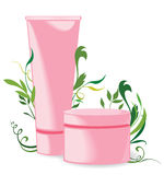 Cream tubes. On floral background. Vector illustration Stock Images