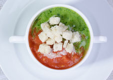 Cream of Vegetable Soup. Creamy vegetable soup with bread croutons stock image