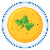 Cream vegetable soup in bowl. Illustration Royalty Free Stock Photo