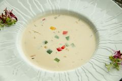 Cream of vegetarian soup ready to serve. A Cream of vegetarian soup ready to serve stock photo