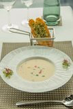 Cream of vegetarian soup ready to serve. A Cream of vegetarian soup ready to serve royalty free stock photo