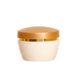 Cream vial. Golden and white cream vial isolated on the white background Royalty Free Stock Images