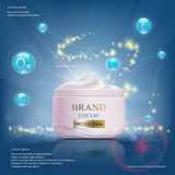 Cream with vitamins, serum and coenzyme Q10. Cosmetic ads templa Stock Images