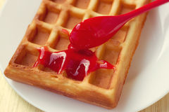 Cream on a waffle topped Stock Photo