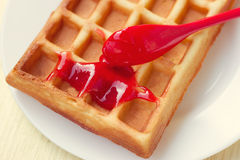 Cream on a waffle topped Royalty Free Stock Images