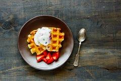 cream waffles льда Стоковые Изображения RF