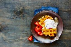 cream waffles льда Стоковая Фотография