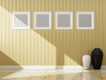 Cream wall color and white frame of interior. 3d rendering Stock Photos