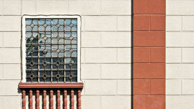 Cream Wall With Window, Balustrade and Column Background Stock Photography