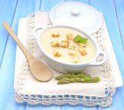 Cream of white asparagus Stock Images