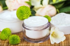 Cosmetic cream on table, close-up view. Cream white background isolated beautiful beauty relaxation Royalty Free Stock Photo