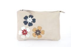 Cream Women purse with flowers Royalty Free Stock Photo