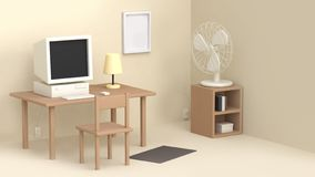 Cream working room table computer fan many objects cartoon style 3d rendering vector illustration