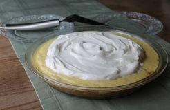 Creamed cream pastry serving Royalty Free Stock Photos