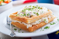 Creamed Haddock and Waffles Royalty Free Stock Photography
