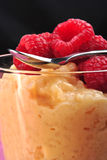 creamed rice pudding with raspberries Stock Photography