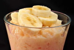 creamed rice pudding with sliced banana Royalty Free Stock Photography
