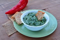Creamed spinach in bowl Royalty Free Stock Photo