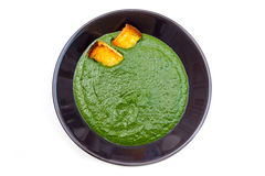 Creamed spinach and croutons from above Royalty Free Stock Photos