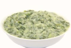Creamed spinach in a white plate Royalty Free Stock Photo