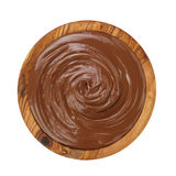 巧克力榛子creamin木头碗 图库摄影