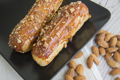 Creampuffs and almonds Royalty Free Stock Photography