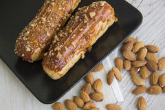 Creampuffs and almonds Stock Image